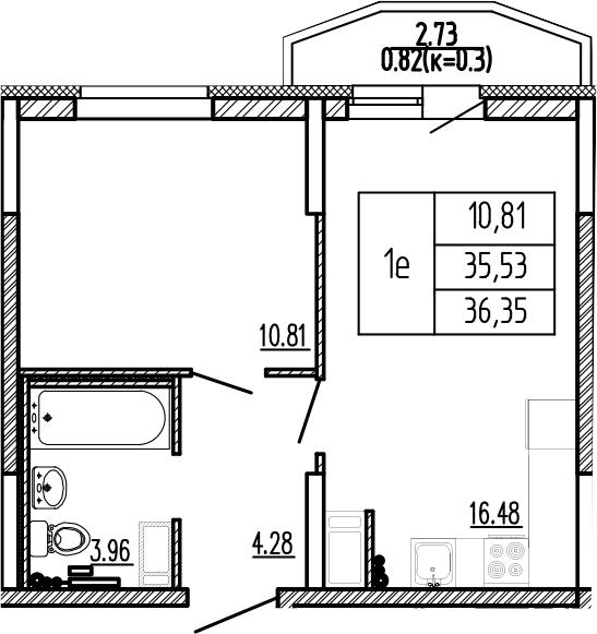 2-к.кв (евро), 38.26 м²