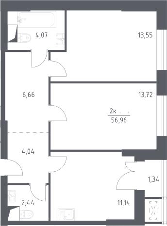2-к.кв, 56.96 м²
