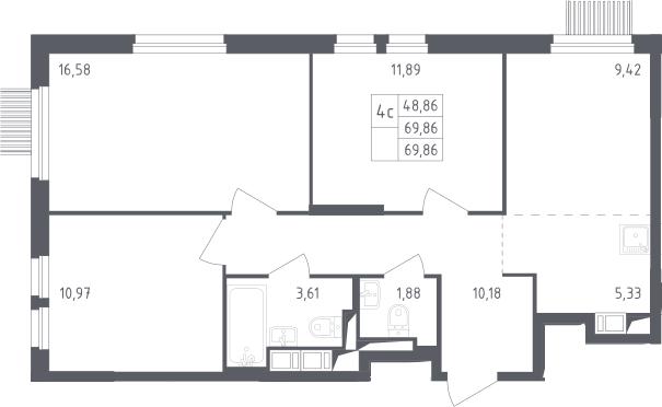 4-к.кв (евро), 69.86 м²