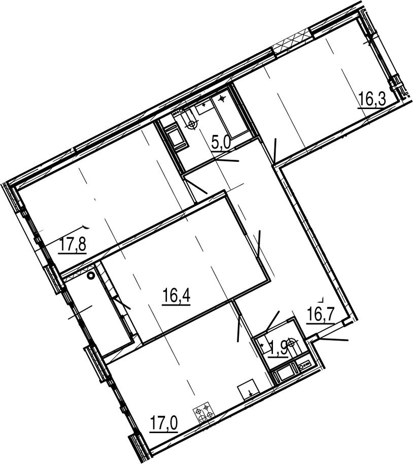 4Е-к.кв, 92.9 м², 8 этаж