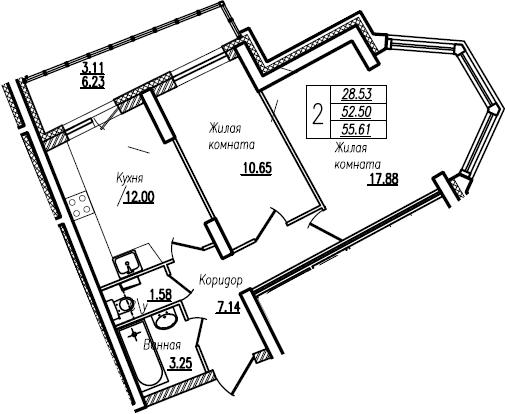 2-комнатная, 55.61 м²– 2