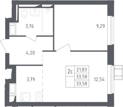 2Е-к.кв, 33.58 м², 13 этаж