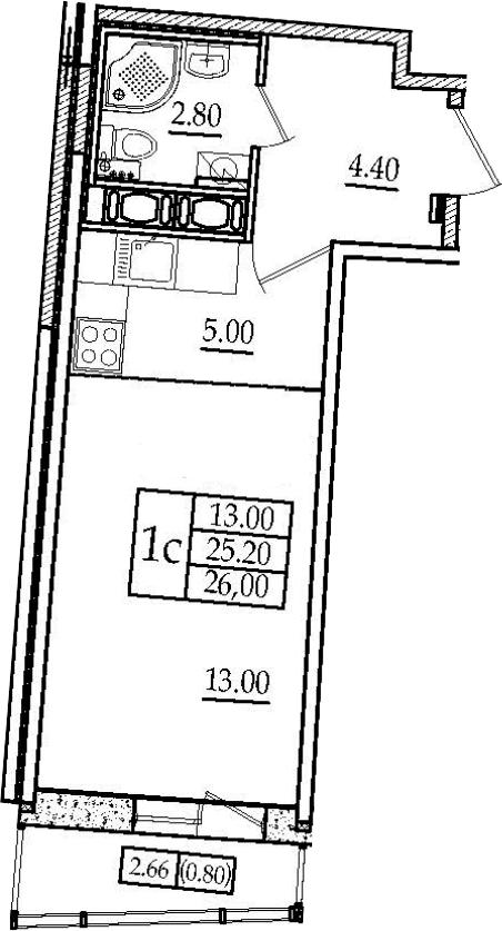 Студия, 27.87 м²
