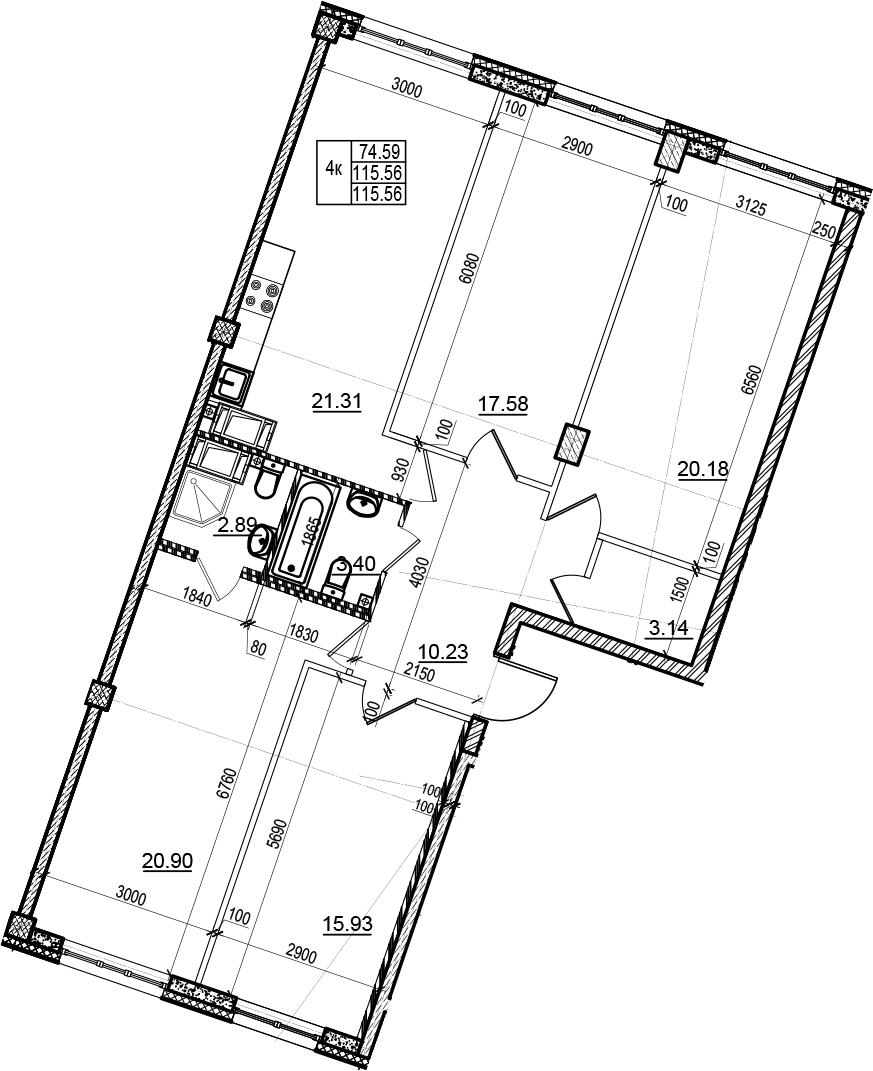 4-к.кв, 115.56 м²