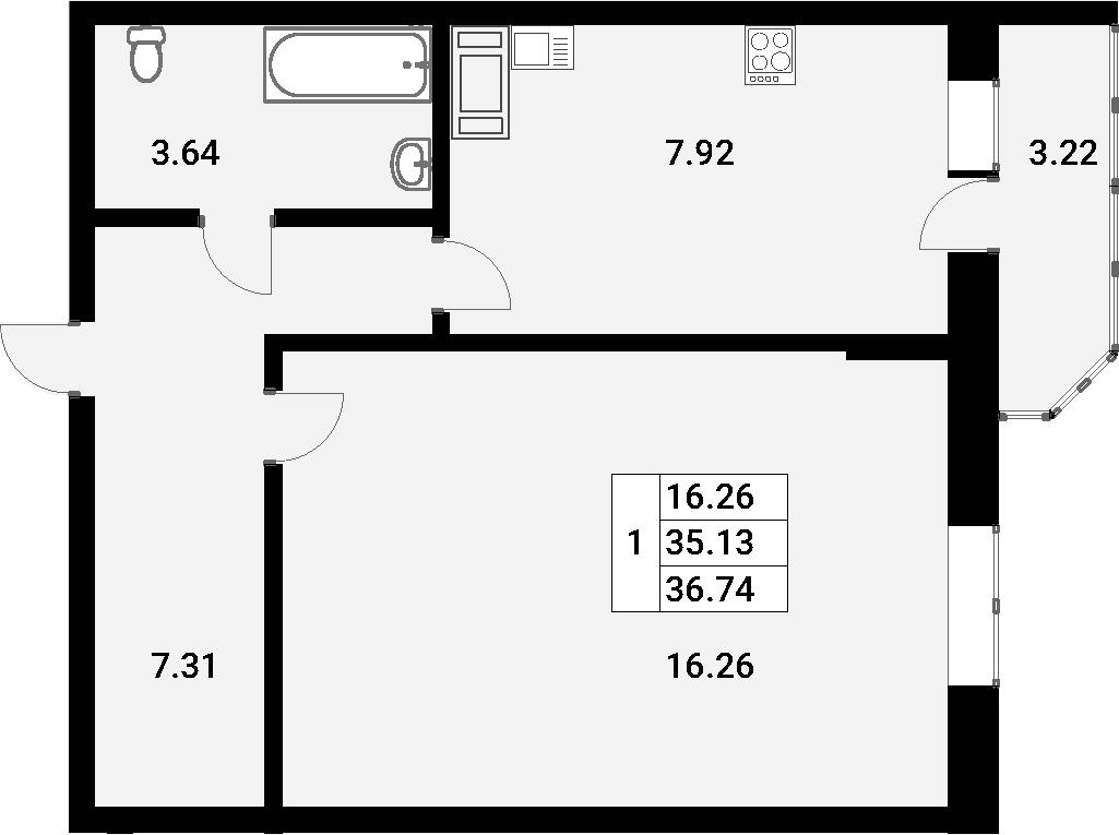 1-к.кв, 36.74 м²