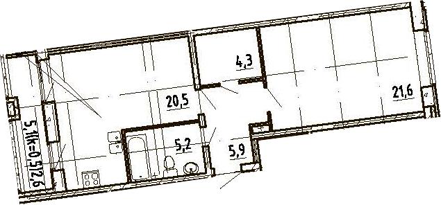 2Е-к.кв, 60.1 м², 4 этаж