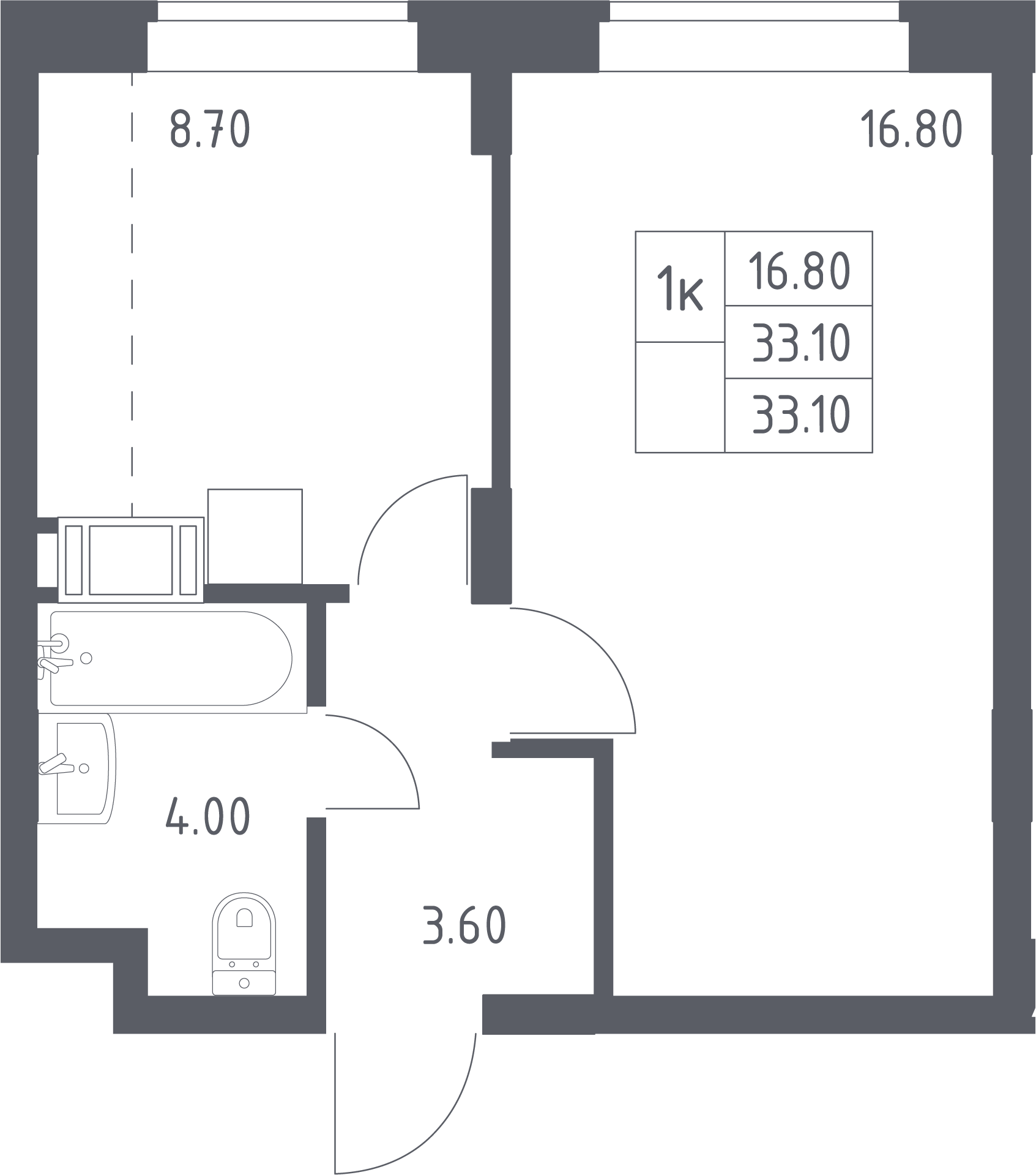 1-к.кв, 33.1 м², 16 этаж
