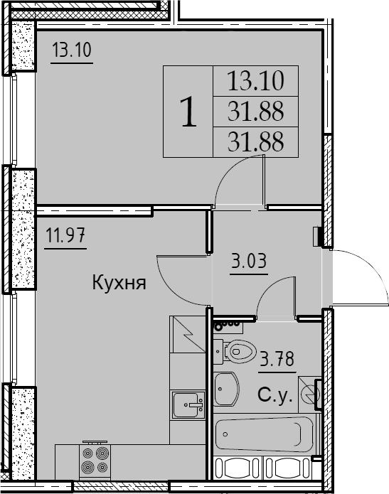 1-к.кв, 31.88 м², 1 этаж