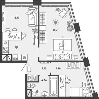 3-к.кв (евро), 49.72 м²