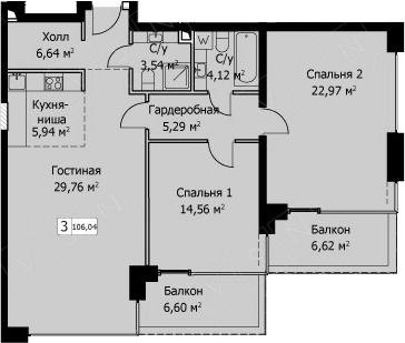 3Е-комнатная, 106.04 м²– 2