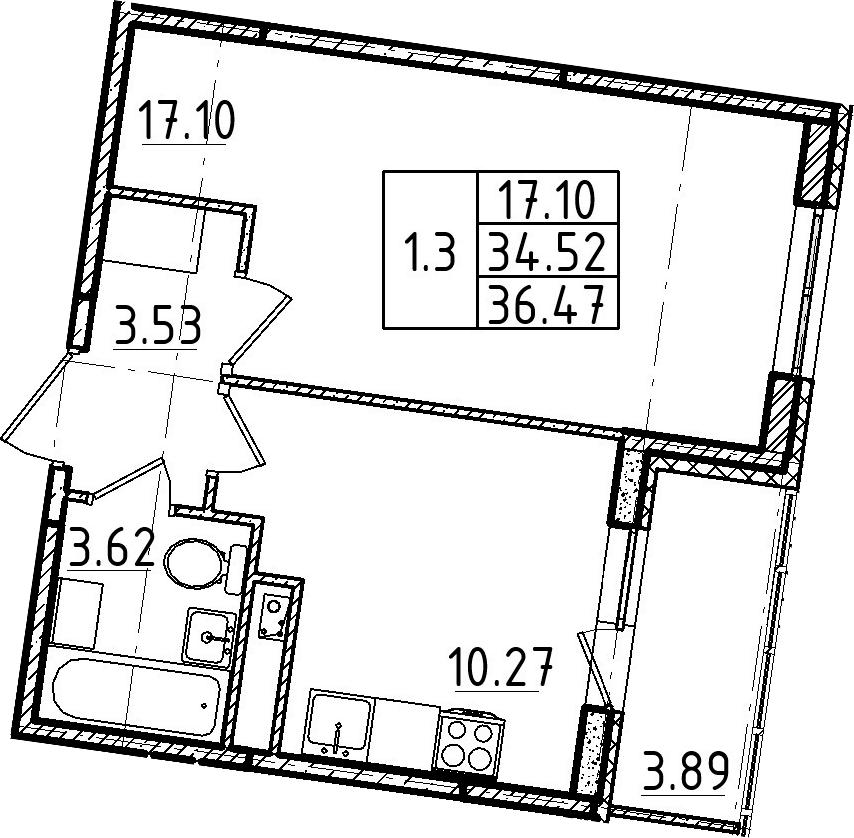 1-к.кв, 36.47 м²
