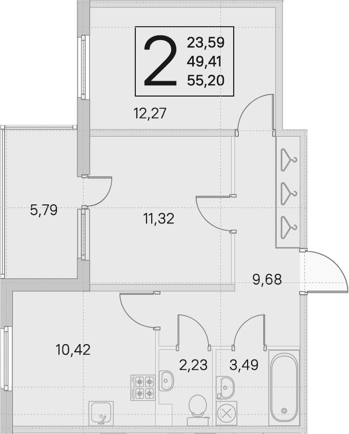 2-комнатная квартира, 49.41 м², 1 этаж – Планировка