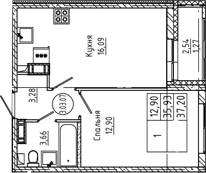2Е-к.кв, 37.2 м², 3 этаж