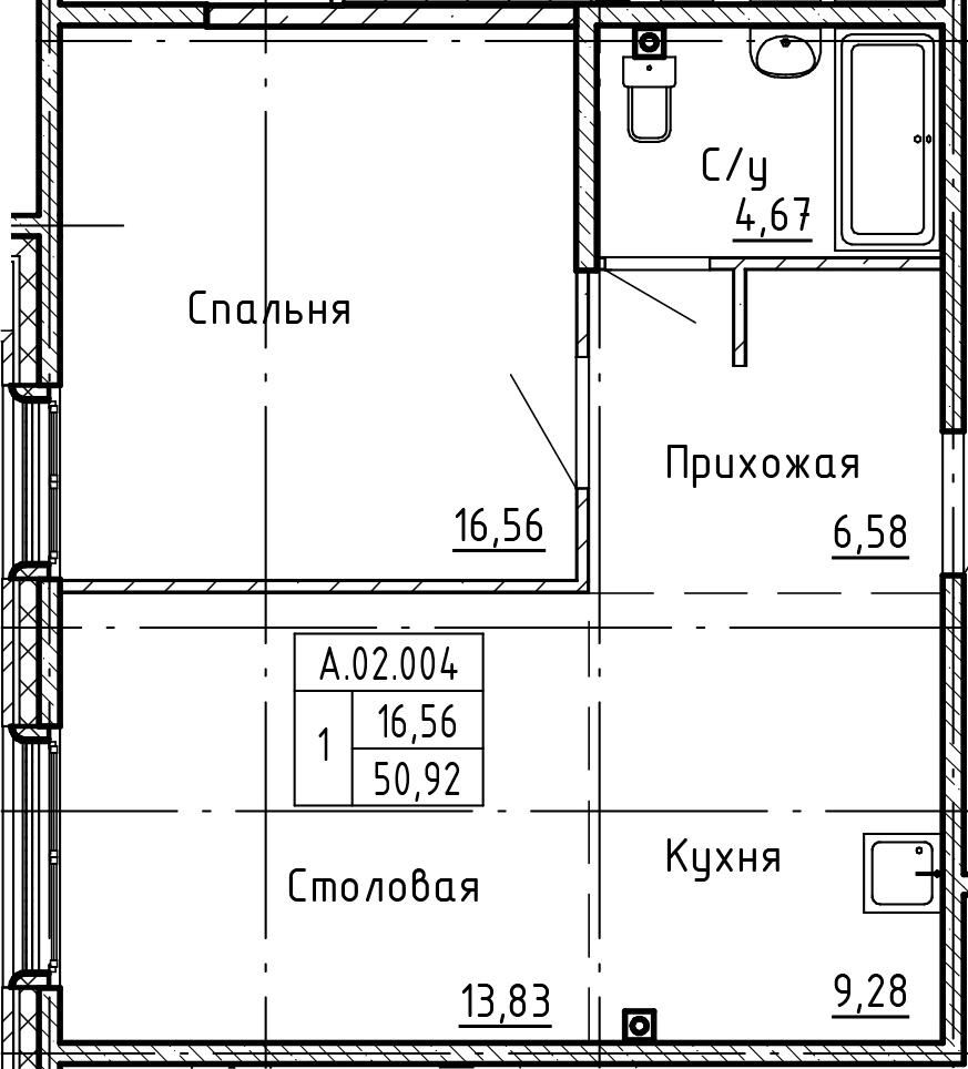 1-к.кв, 50.92 м²