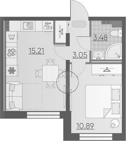 2-к.кв (евро), 32.63 м²