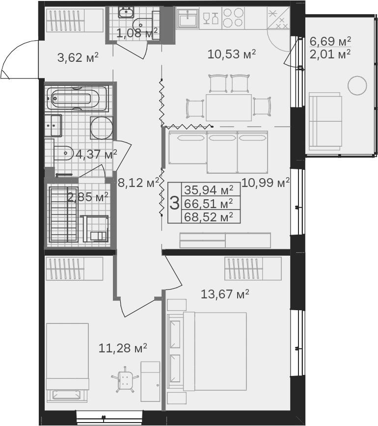 3-к.кв, 73.21 м²