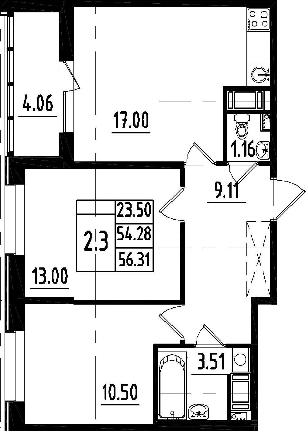 3Е-комнатная, 54.28 м²– 2