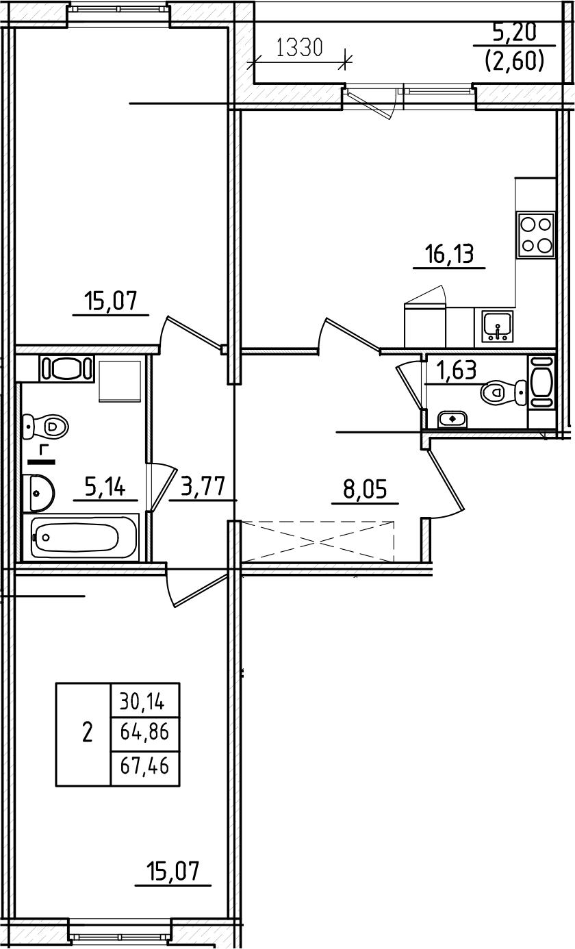 3Е-к.кв, 67.46 м², от 2 этажа
