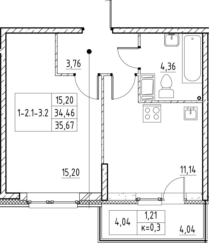 1-к.кв, 35.67 м², 11 этаж