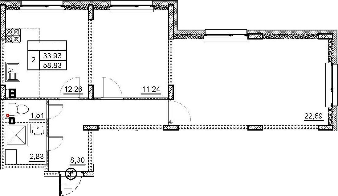 2-комнатная, 58.83 м²– 2