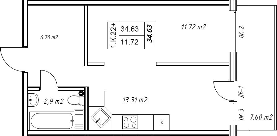 1-к.кв, 34.7 м²