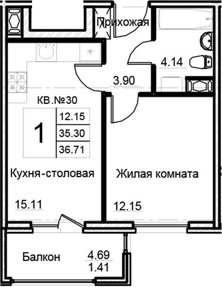 2-к.кв (евро), 38.12 м²