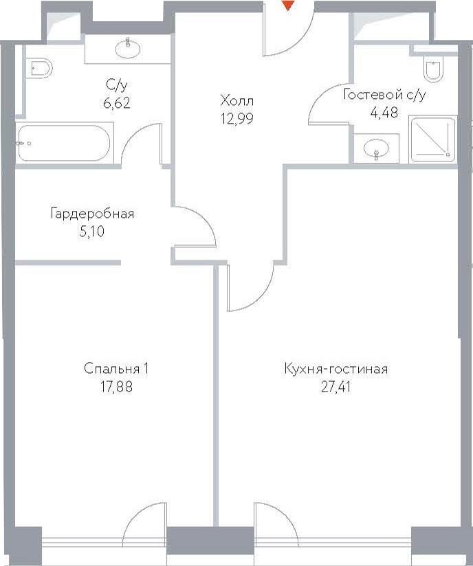 2Е-комнатная, 74.48 м²– 2