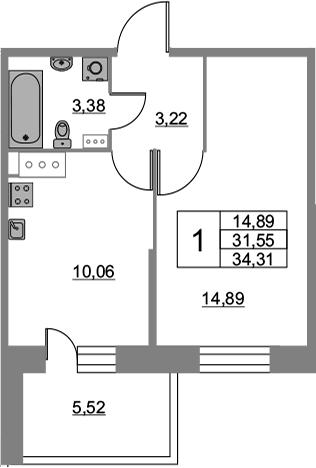 1-к.кв, 34.31 м², 6 этаж