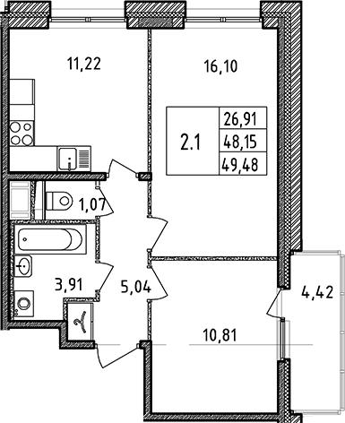 3Е-к.кв, 49.48 м²