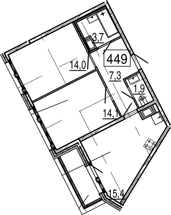 3Е-комнатная, 57.5 м²– 2