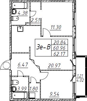 3Е-к.кв, 62.17 м², 1 этаж