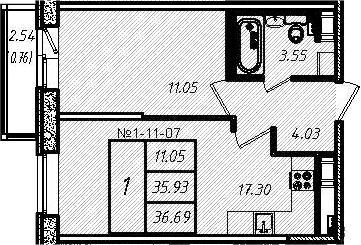 2-к.кв (евро), 38.46 м²
