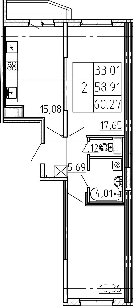 3-к.кв (евро), 61.63 м²