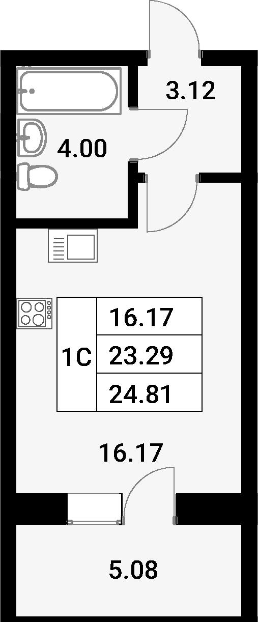 Студия, 28.37 м²