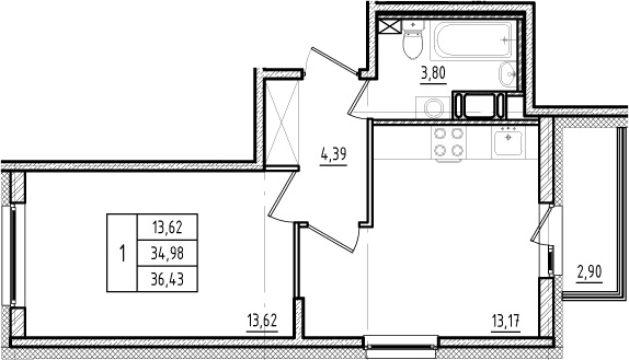 1-комнатная, 34.98 м²– 2