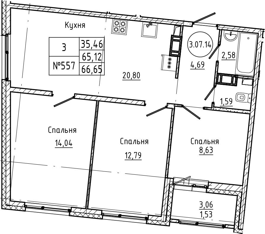 4Е-к.кв, 66.65 м², 7 этаж