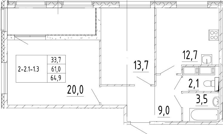 2-комнатная квартира, 64.9 м², 3 этаж – Планировка