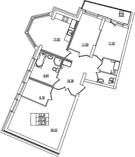 4Е-комнатная, 110.7 м²– 2