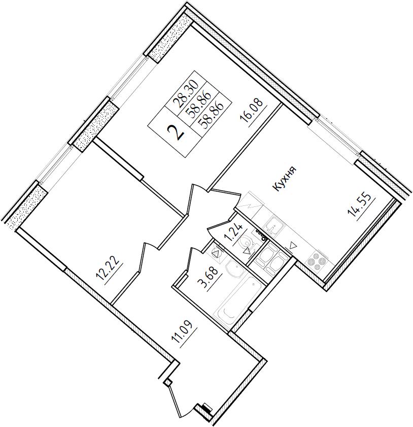 2-комнатная, 58.86 м²– 2