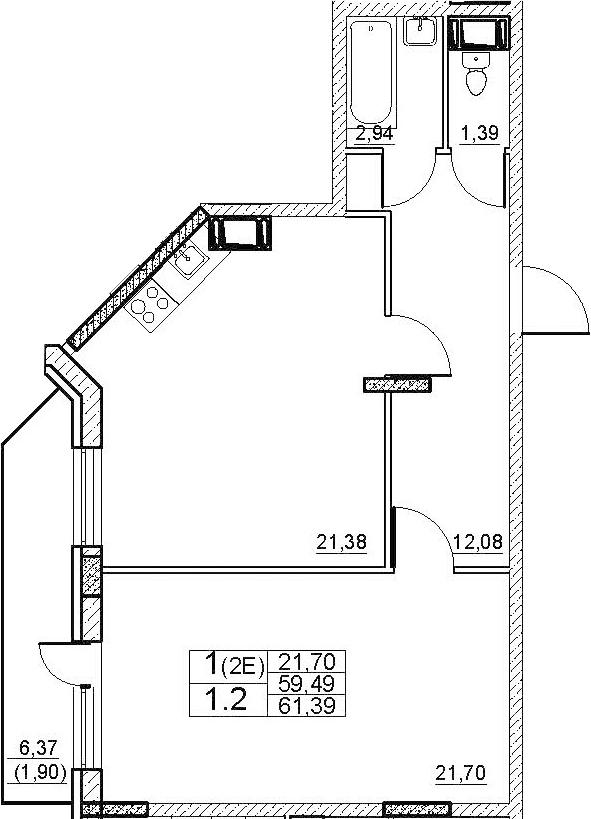 2Е-к.кв, 61.39 м², от 2 этажа