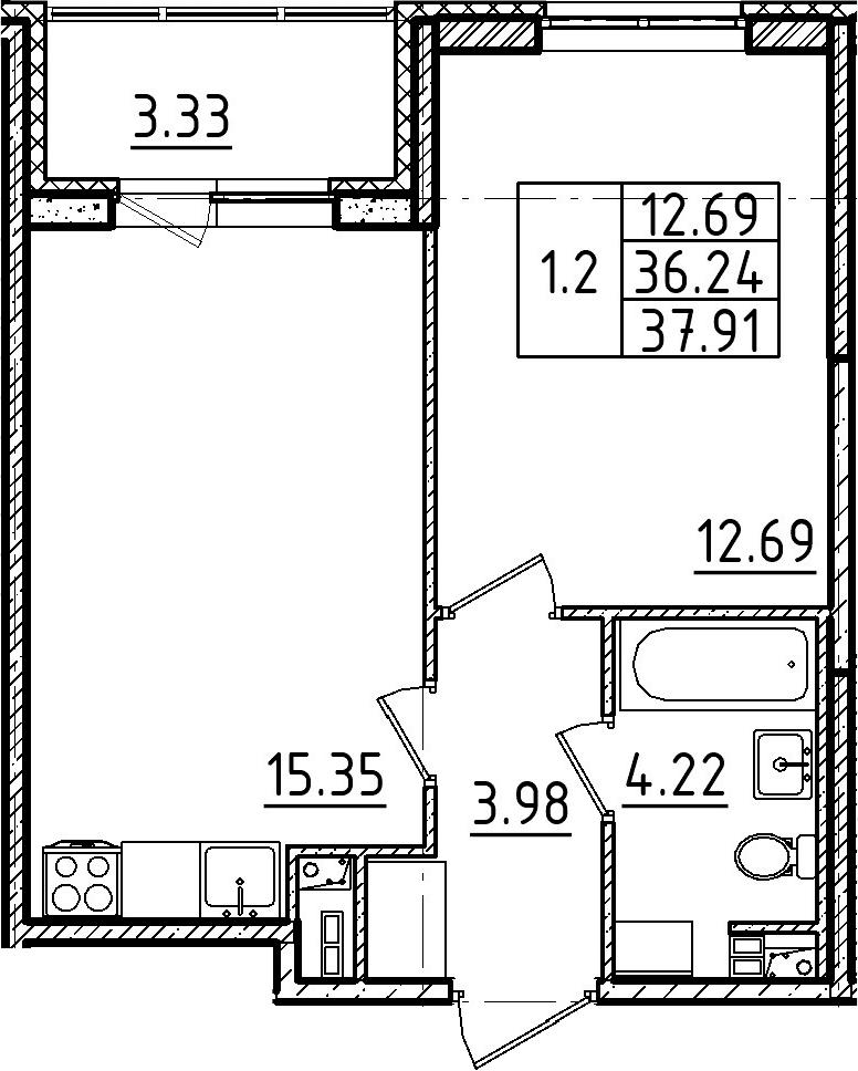 2Е-комнатная, 37.91 м²– 2