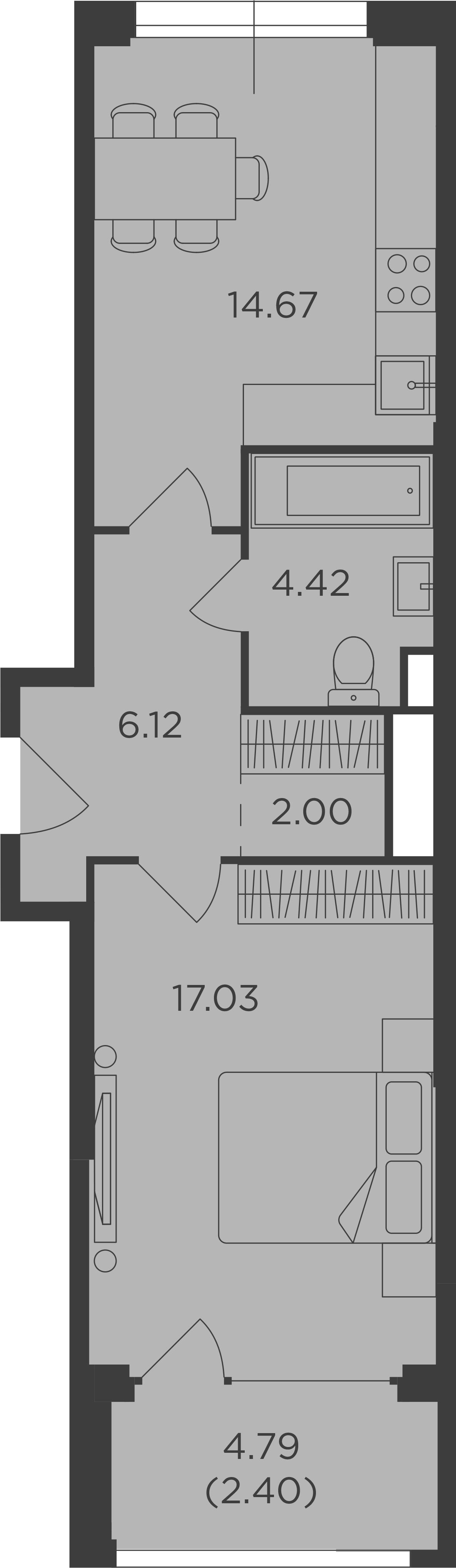 1-к.кв, 46.64 м², от 14 этажа