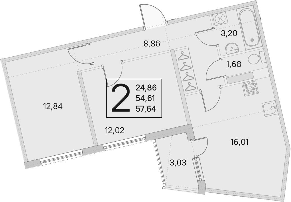3Е-к.кв, 54.61 м², 4 этаж