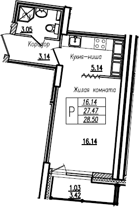 Студия, 28.5 м²– 2