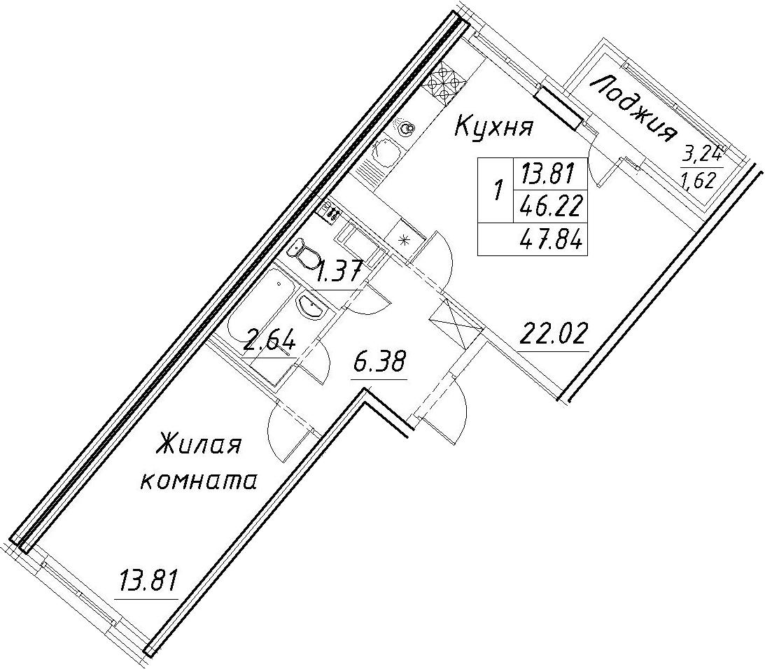 2-к.кв (евро), 49.46 м²