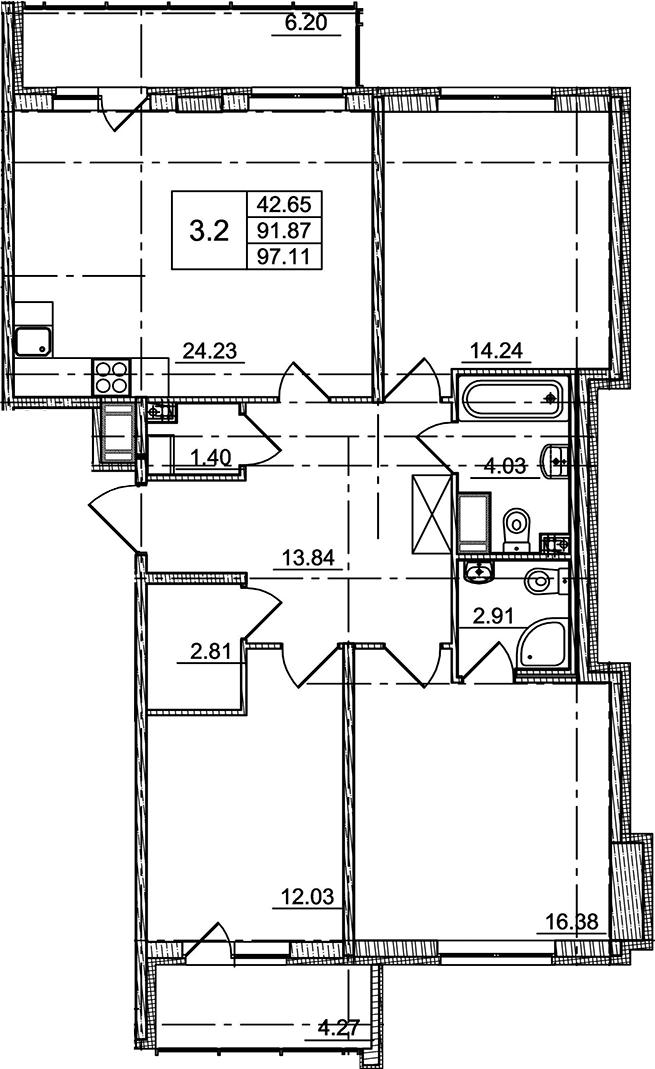 4Е-к.кв, 91.87 м²