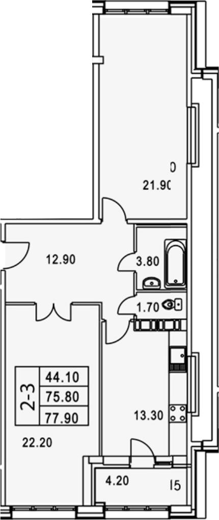 2-комнатная, 80 м²– 2