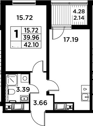 2Е-комнатная, 42.1 м²– 2