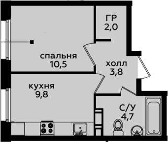 1-комнатная, 30.8 м²– 2