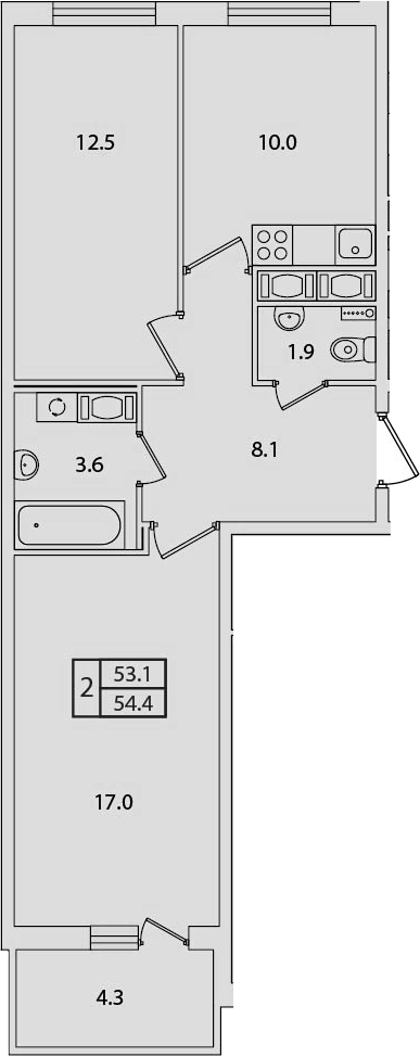 2-к.кв, 54.4 м², от 3 этажа